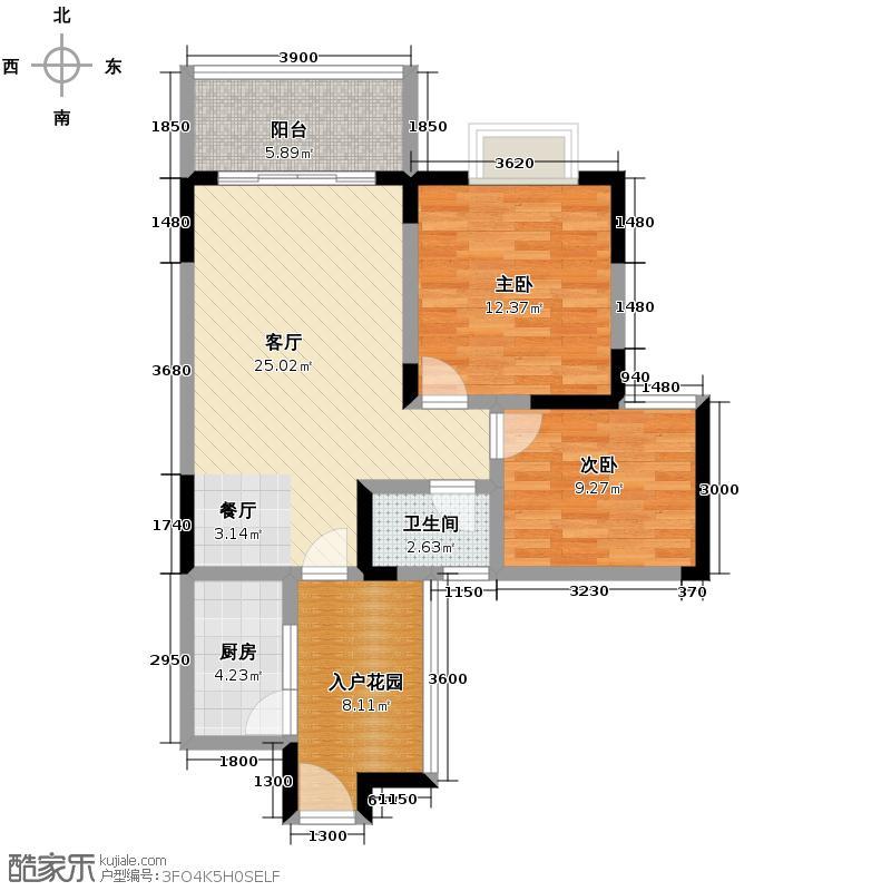翡翠半岛国际社区81.01㎡A2户型2室1厅1卫1厨