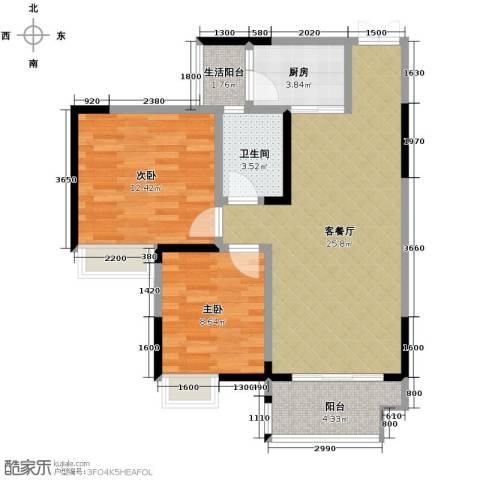 春江花月2室1厅1卫1厨86.00㎡户型图