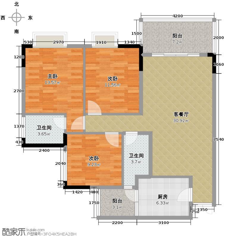 斌鑫西城绿锦99.85㎡户型10室