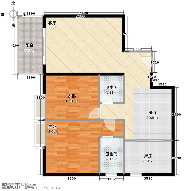 西厦大厦120.69㎡B户型2室2厅1卫