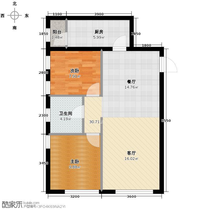 紫金广场67.39㎡B户型2室2厅1卫