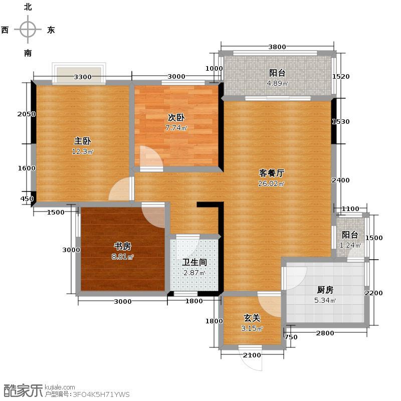 比华利国际城81.00㎡三期一批次C户型3室1厅1卫1厨