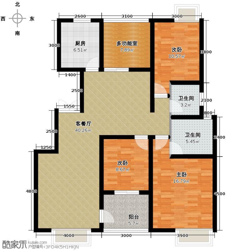 福邸铭门139.78㎡8/9号楼G户型3室1厅2卫1厨