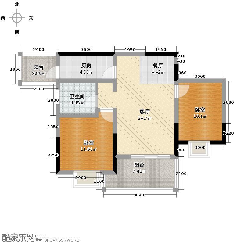 朝阳时代西锦77.57㎡9号楼A4户型2室2厅1卫