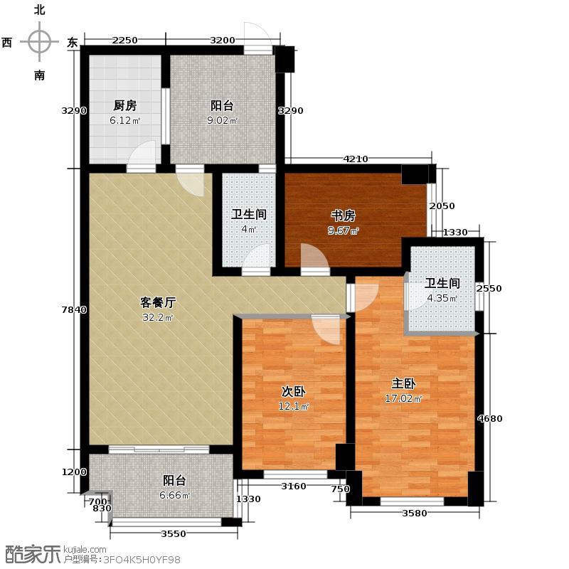 龙湖弗莱明戈93.00㎡D1户型3室1厅2卫1厨
