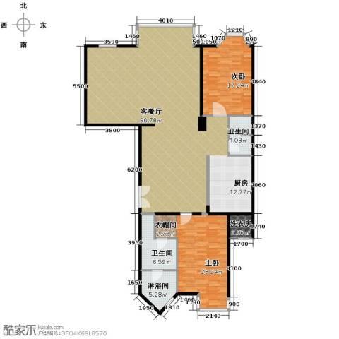 公园18723室2厅2卫0厨191.00㎡户型图