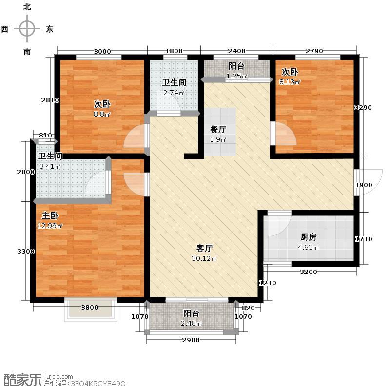 香缤国际城118.42㎡7#C1户型3室2厅2卫