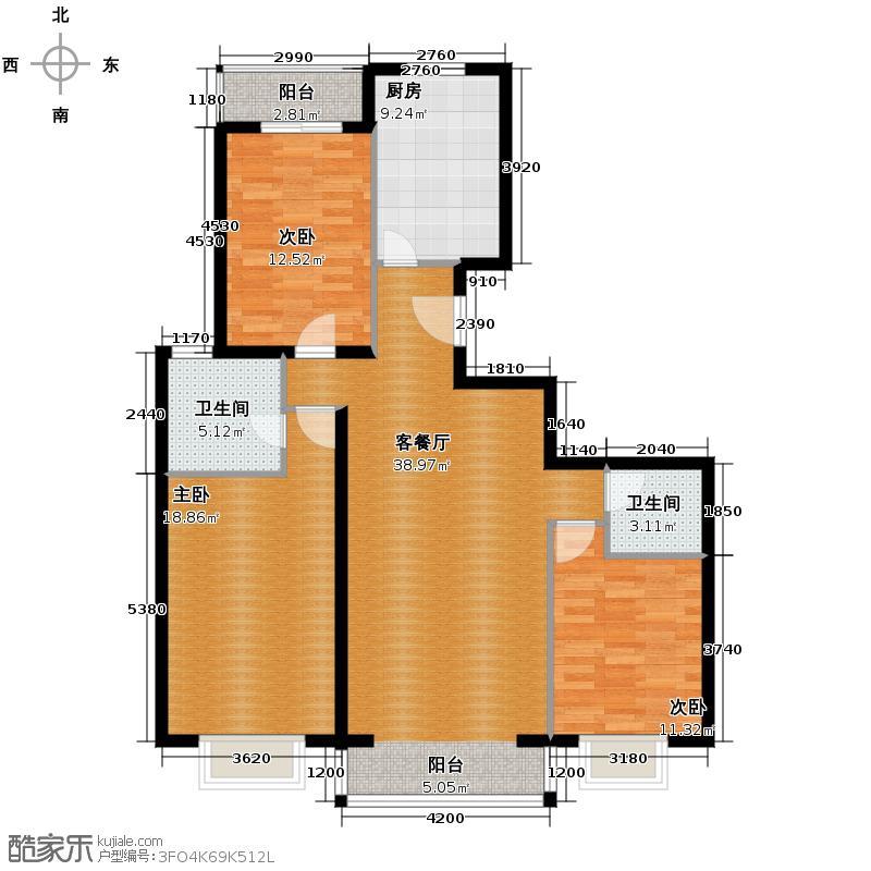 京东领秀城126.50㎡一号楼标准层C2户型3室2厅2卫