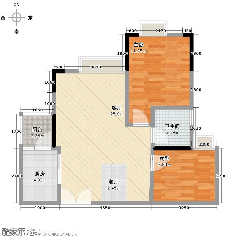 泽科港城国际65.23㎡户型2室1厅1卫1厨