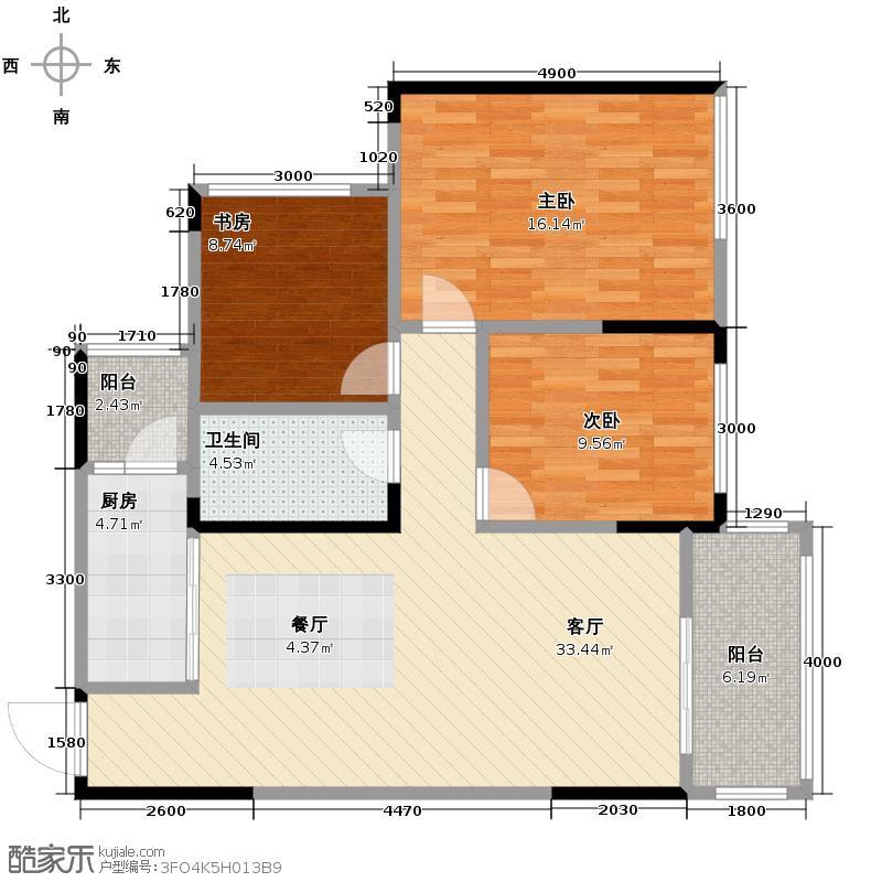 金科公园王府大户人家102.19㎡D14、7号房户型3室2厅2卫