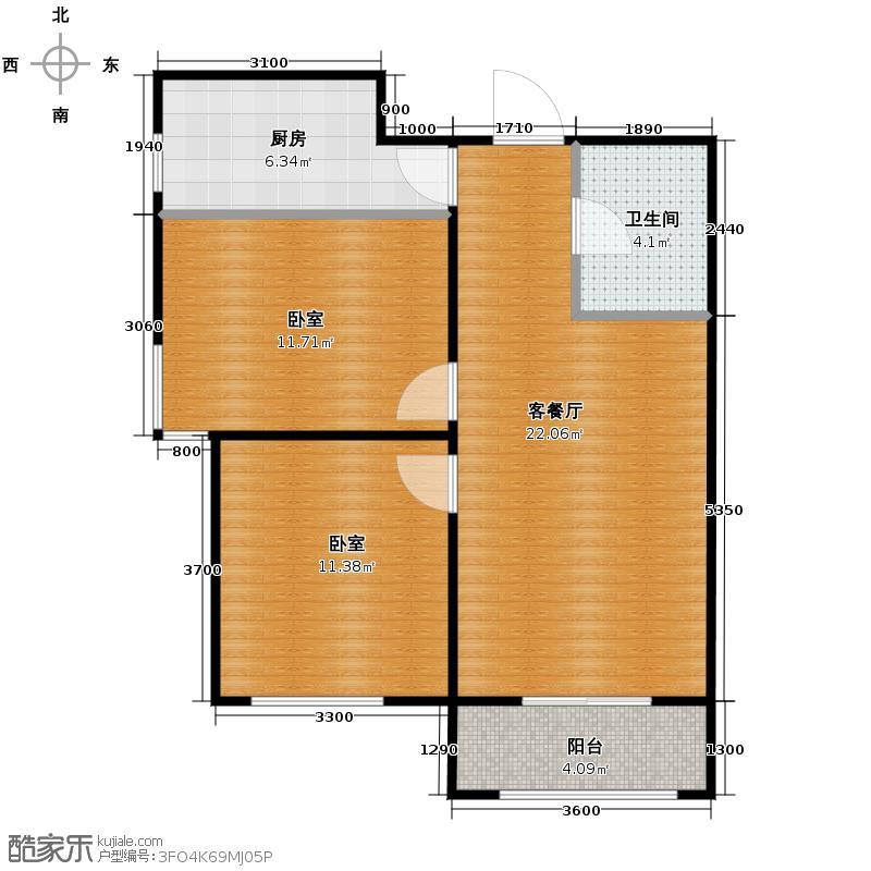 中国铁建国际城85.00㎡户型2室2厅1卫