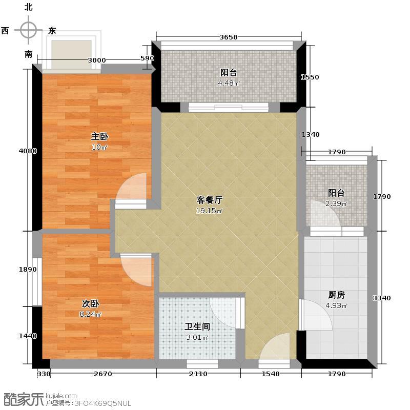 珠江太阳城捌零公馆56.10㎡一期D3栋标准层87号房户型2室2厅1卫