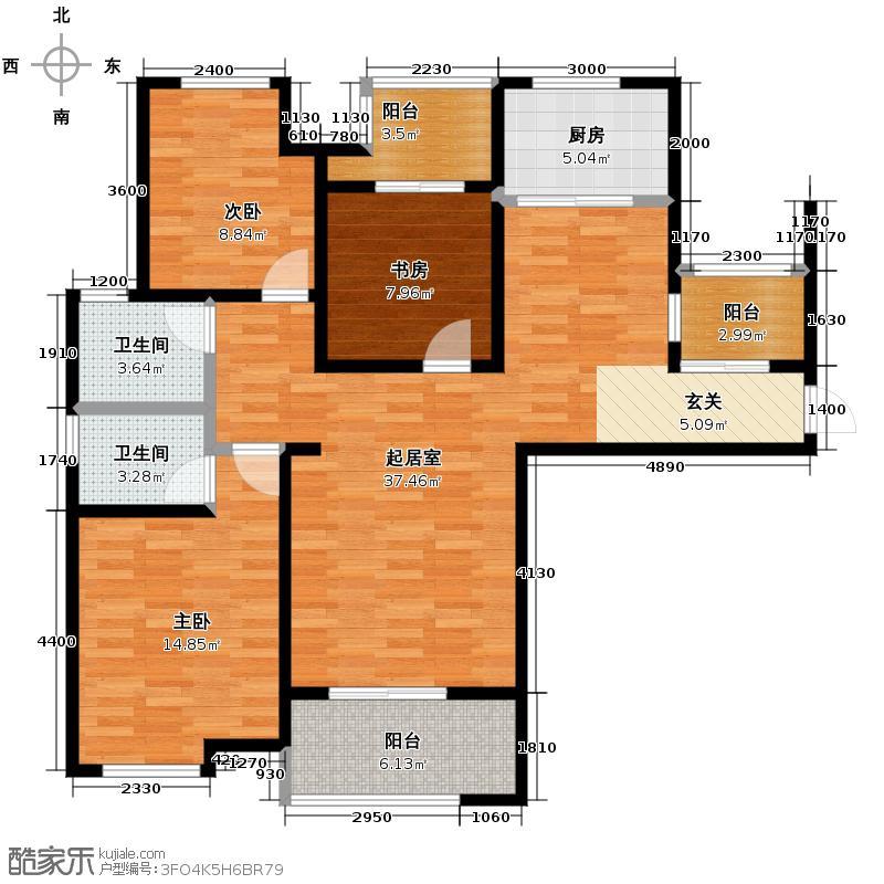 铂悦山107.23㎡C1户型3室2厅2卫