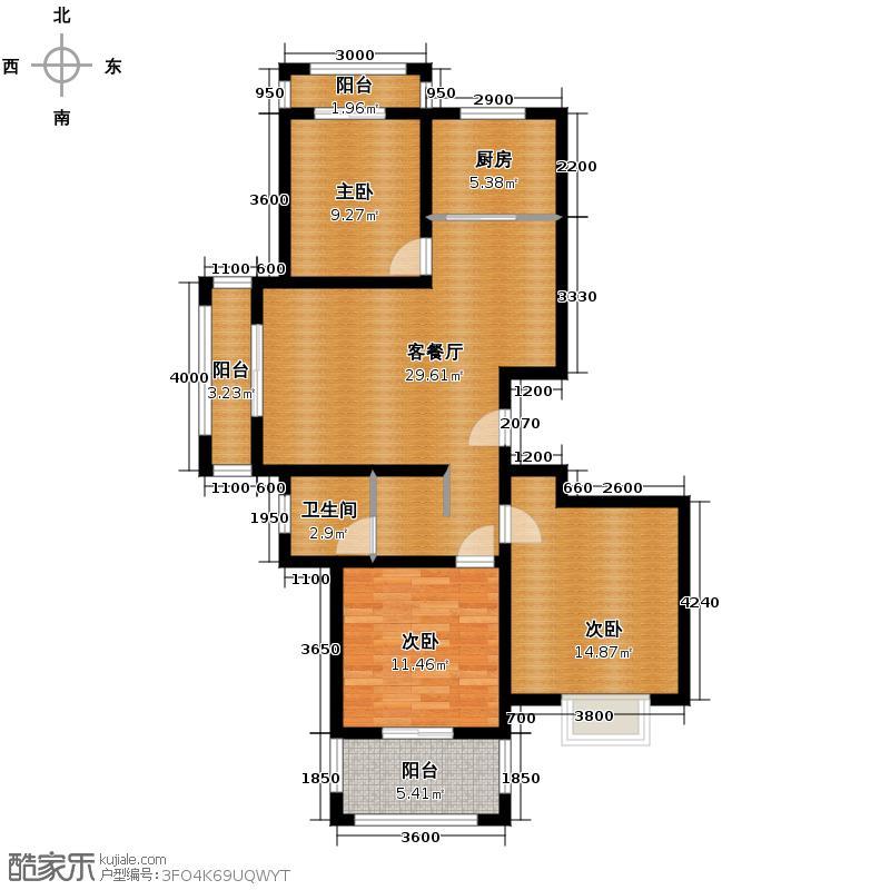 新一代北城国际97.87㎡C2户型3室1厅1卫1厨