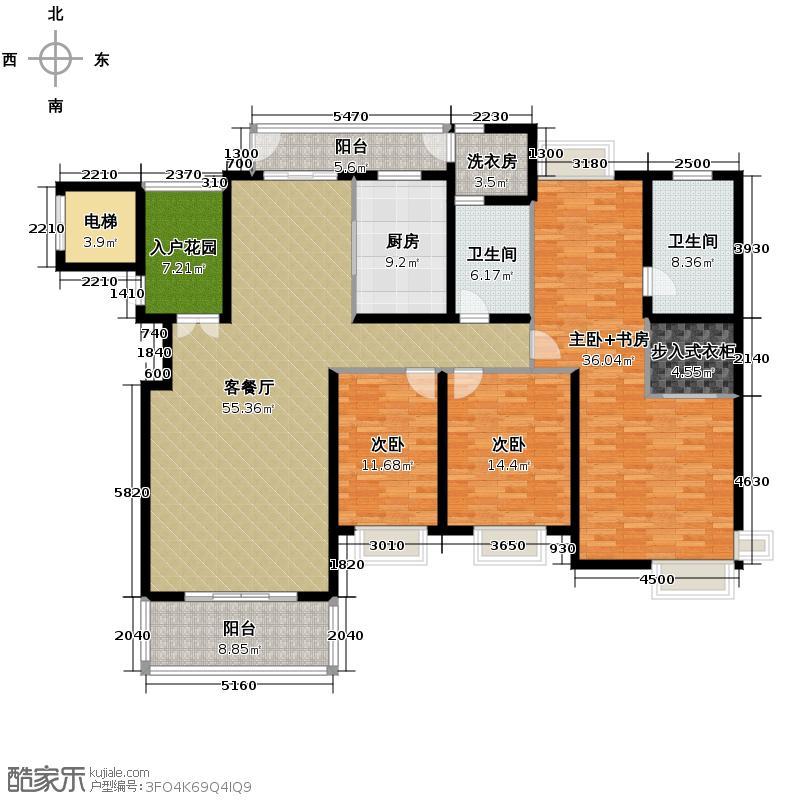 紫薇公园时光210.00㎡户型4室2厅2卫