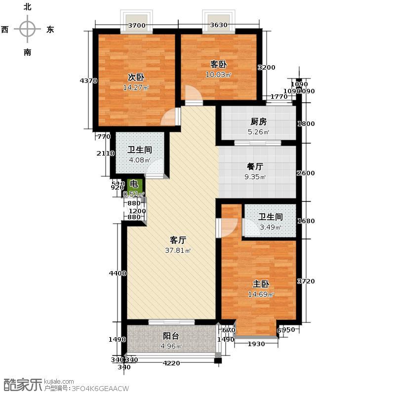 三泰茗居123.89㎡B户型3室2厅2卫
