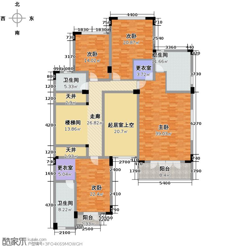 成都华侨城东岸370.00㎡B1型二楼平面图户型10室