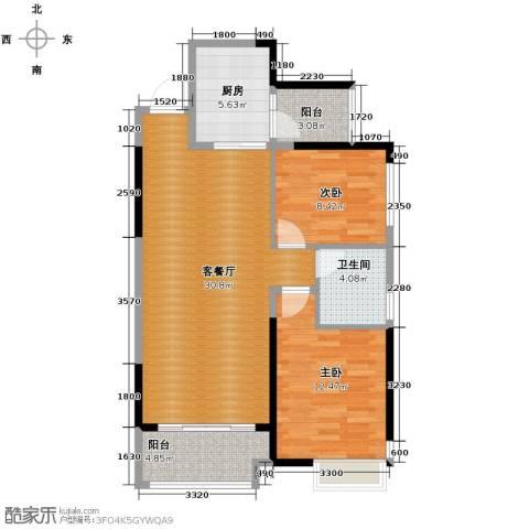 恒大御景湾2室2厅2卫0厨94.00㎡户型图