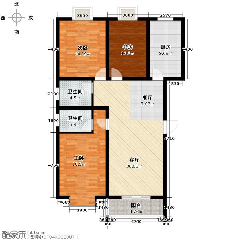 三泰茗居131.52㎡A户型3室2厅2卫