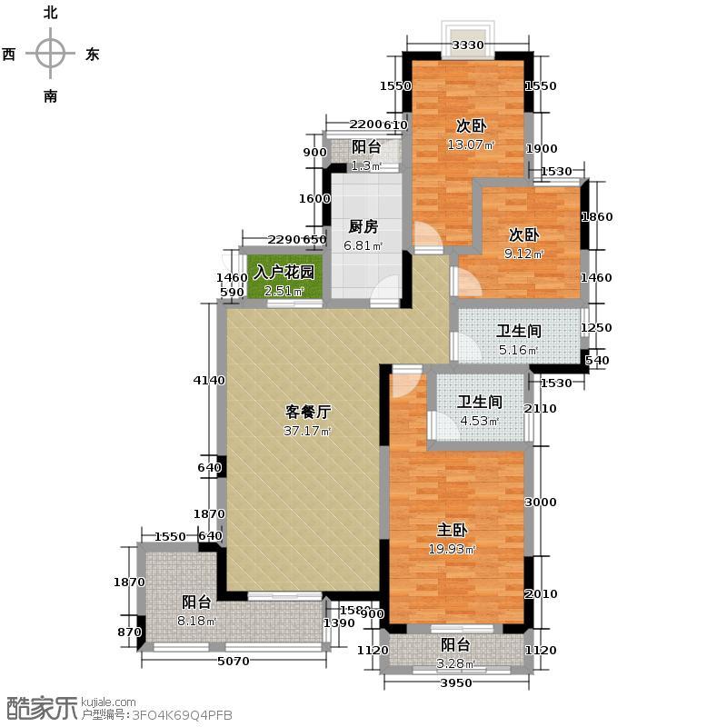 旭阳台北城127.00㎡一期B1栋4标准层户型4室2厅2卫
