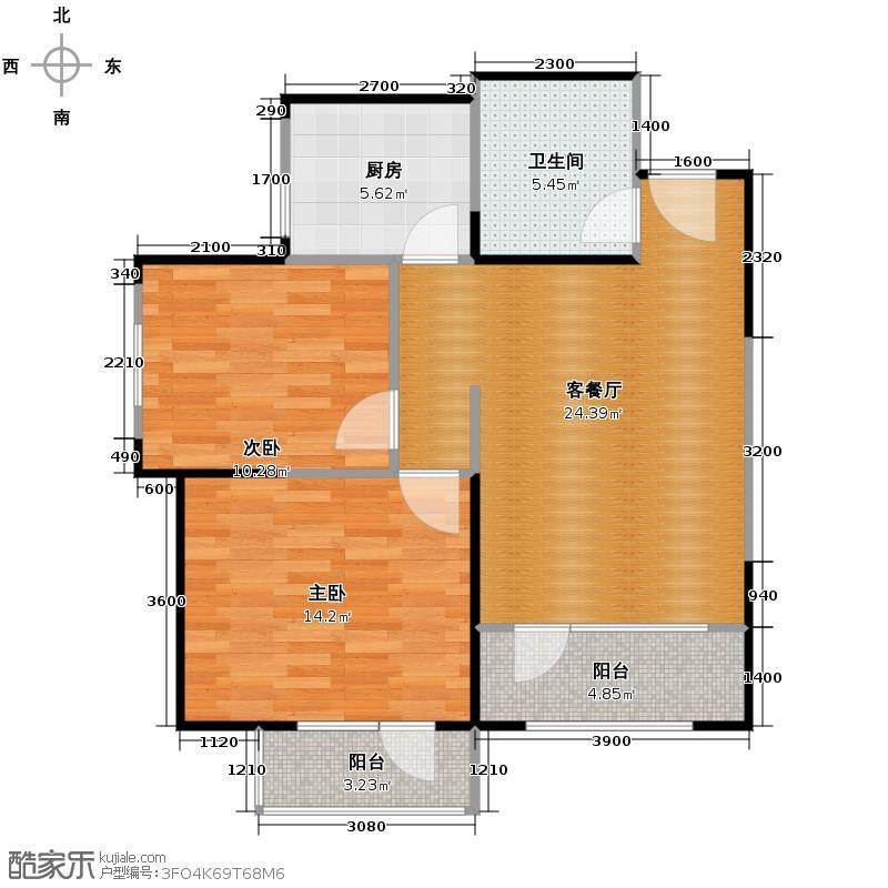 沽上江南73.53㎡高层F户型2室2厅1卫
