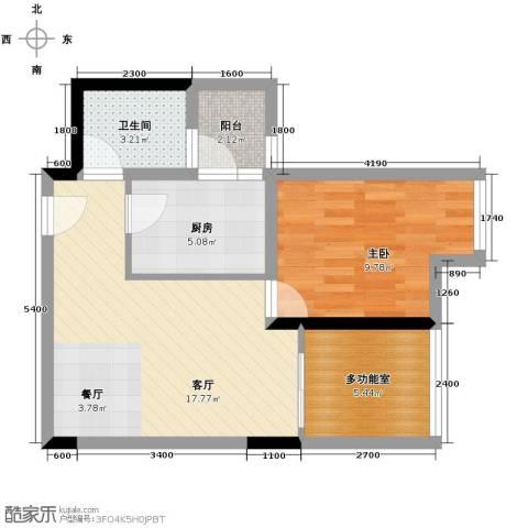 东原亲亲里1室1厅1卫1厨50.00㎡户型图