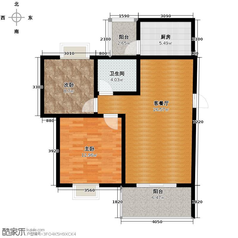 杜鹃城82.55㎡二期E1标准层户型10室
