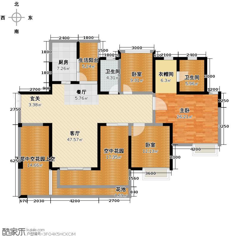 天府世家137.00㎡B2户型1室1厅2卫1厨