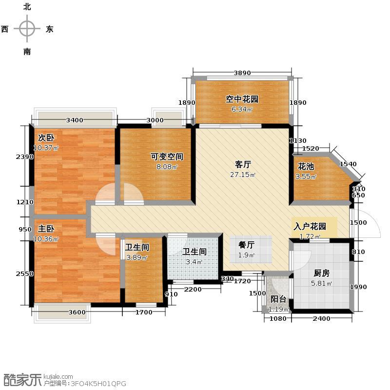 比华利国际城91.09㎡2011年1月在售-2期D-3奇数层--双卫户型2室1厅2卫1厨