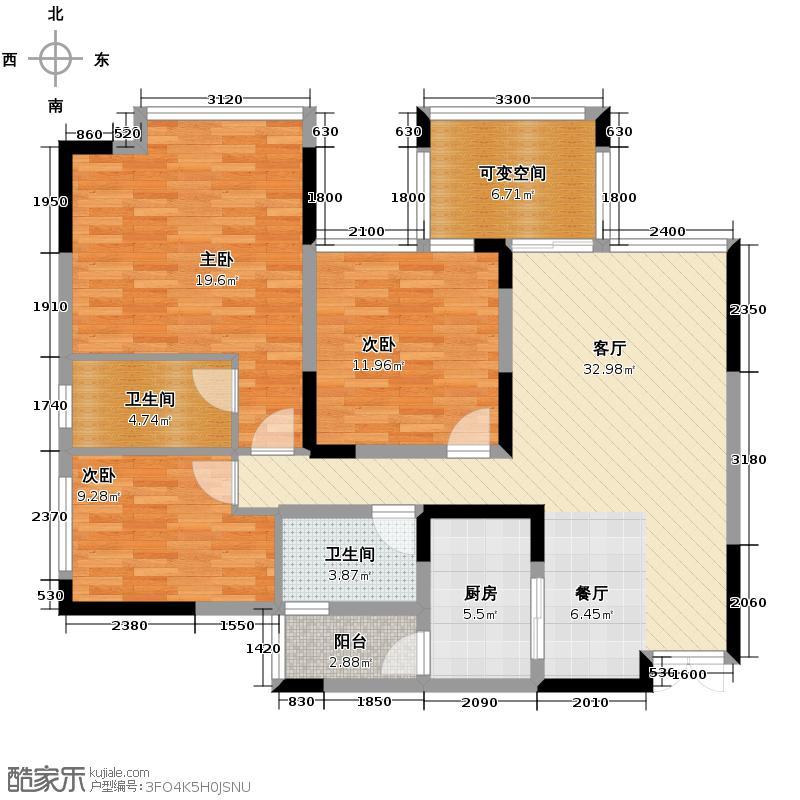 华宇金沙时代103.51㎡金沙时代12户型3室1厅2卫1厨