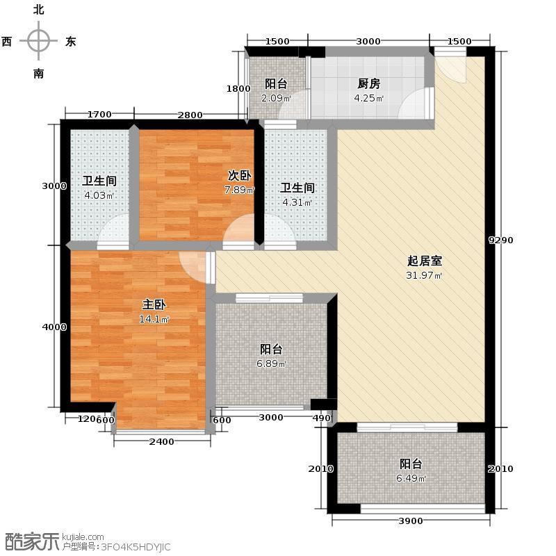 紫台春千集84.66㎡(带空中院馆)户型2室2卫1厨