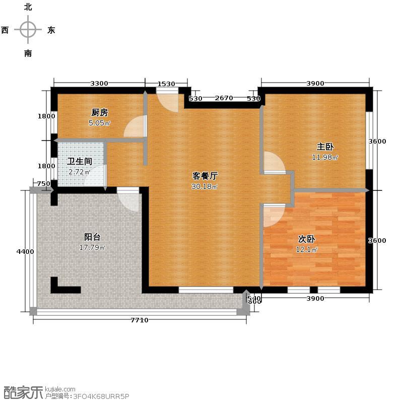 欧林湾99.00㎡户型2室1厅1卫1厨
