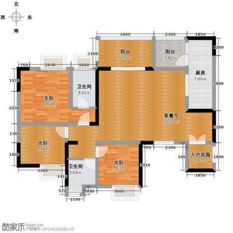 协信阿卡迪亚3室1厅2卫1厨94.88㎡户型图