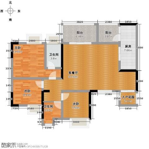 协信阿卡迪亚3室1厅2卫1厨102.00㎡户型图