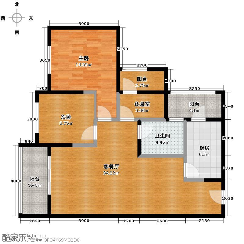 紫御江山109.00㎡1、2、8号楼2、3、6、7号房M创变单卫户型2室1厅1卫1厨