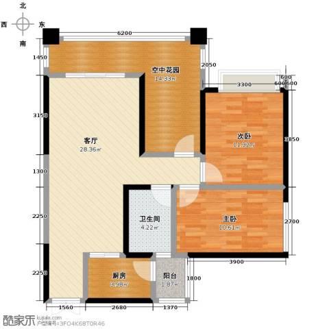 春江花月2室1厅1卫1厨106.00㎡户型图