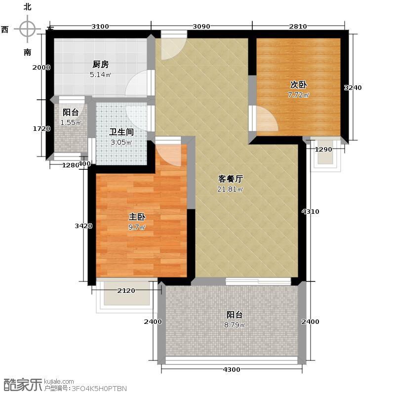 泽科港城国际71.32㎡1/2/3号楼D-3楼层5-32层户型2室1厅1卫1厨