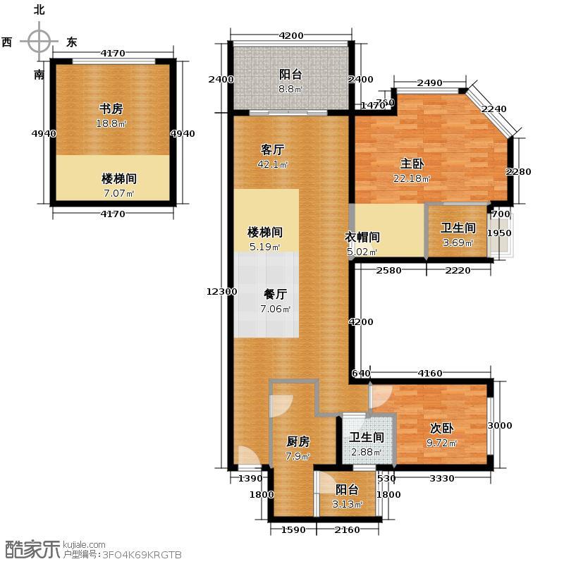 聚丰江山天下87.92㎡12号楼奇数层5号房双卫(6米挑高专利)实际户型3室1厅2卫1厨