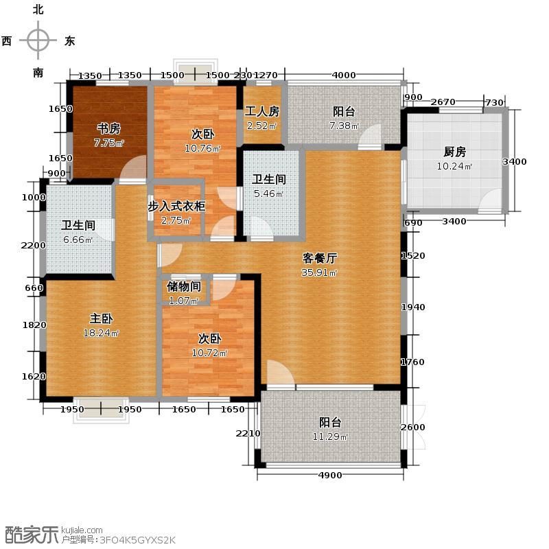 东山国际新城166.00㎡C区B1型双卫户型4室2厅2卫
