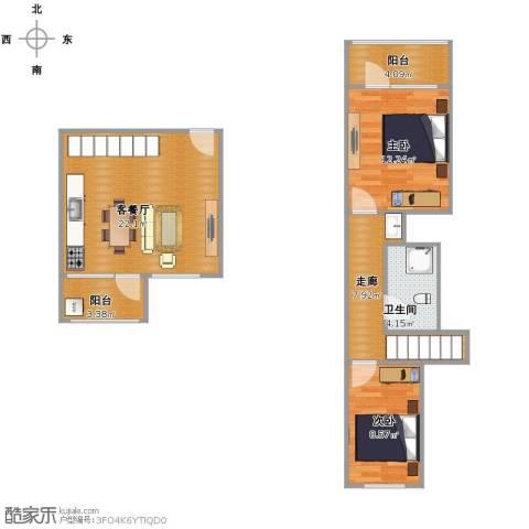 朗诗国际街区(跃层)2室2厅1卫1厨85.00㎡户型图