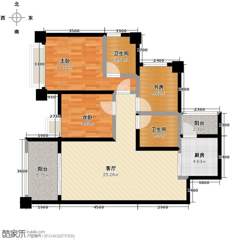 蓝光COCO金沙85.00㎡F2户型3室1厅2卫1厨