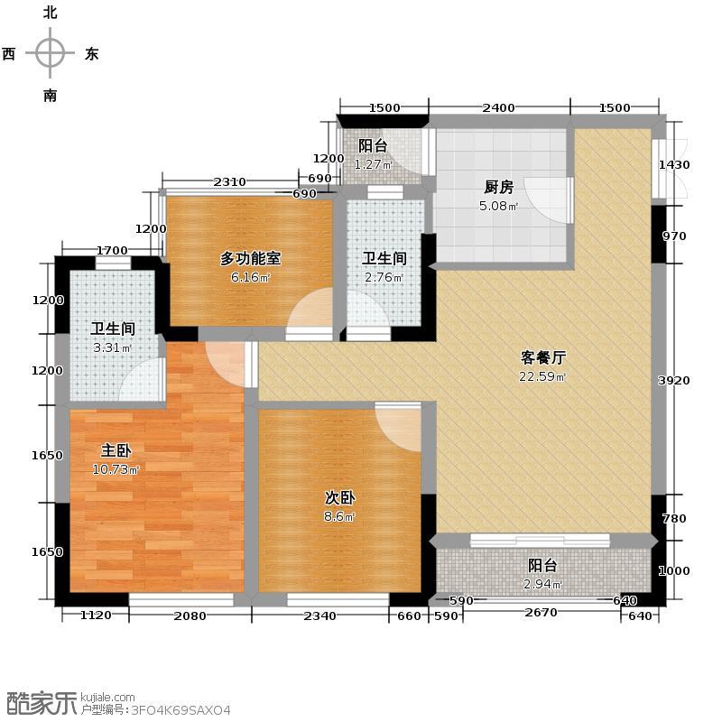 正升青青丽苑67.41㎡一期4号楼标准层B号房户型2室1厅2卫1厨