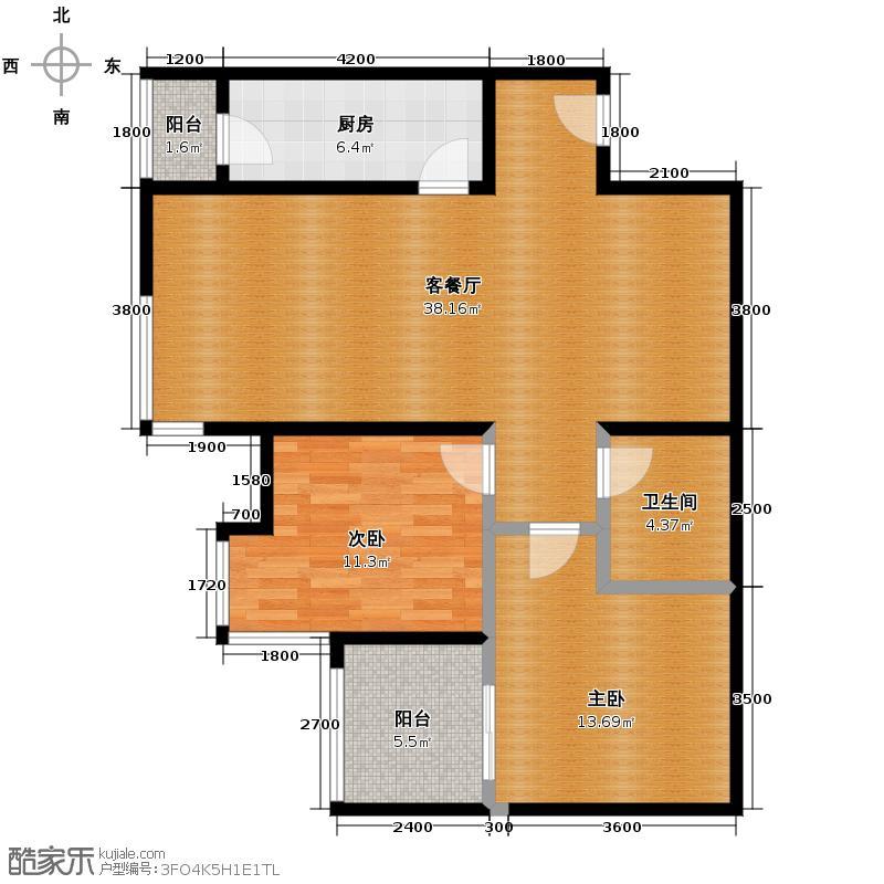 上和城86.57㎡4、5、6、7号楼B户型2室2厅1卫