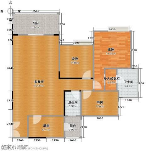 金辉苹果城3室1厅2卫1厨102.36㎡户型图