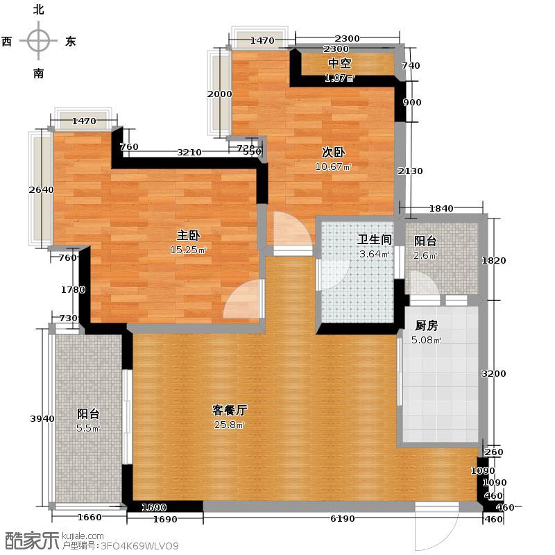 蓝溪谷地66.55㎡A单卫户型2室1厅1卫1厨
