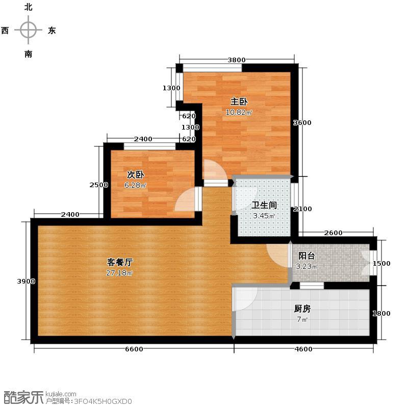 泽科港城国际66.70㎡8栋1、6号房户型2室1厅1卫1厨