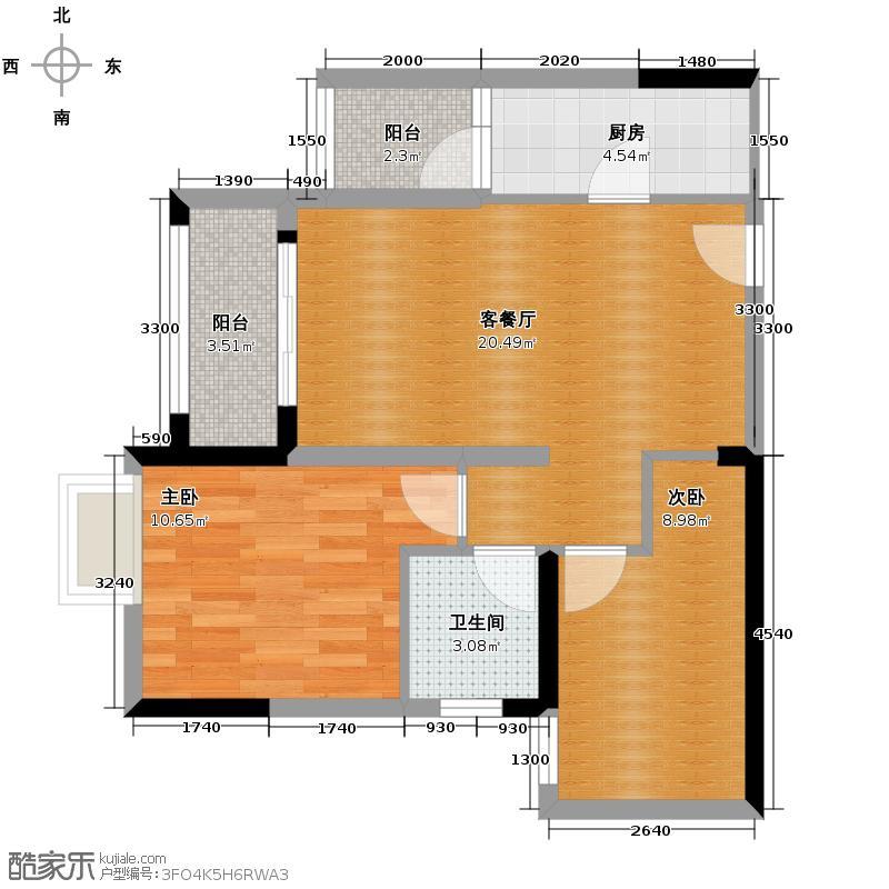泽科港城国际60.39㎡一期7/8号楼标准层1/6号房户型2室1厅1卫1厨