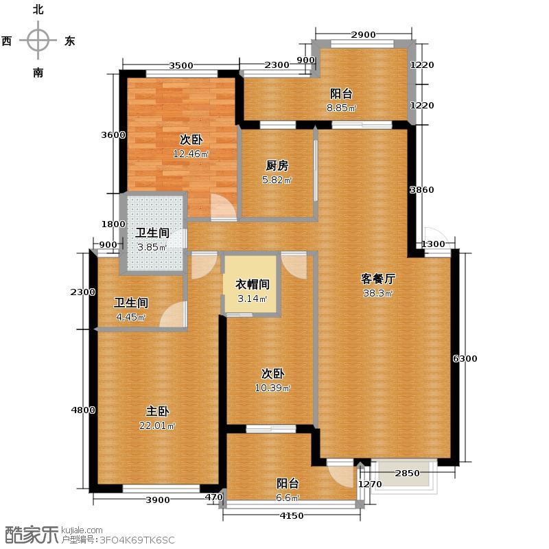 马德里风情130.34㎡A型户型3室1厅2卫1厨