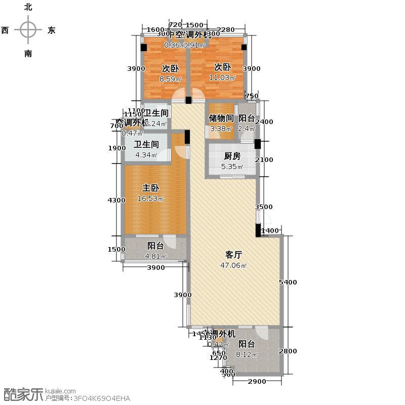 当代国际花园十五区高层132.50㎡GB2-2户型3室2厅2卫