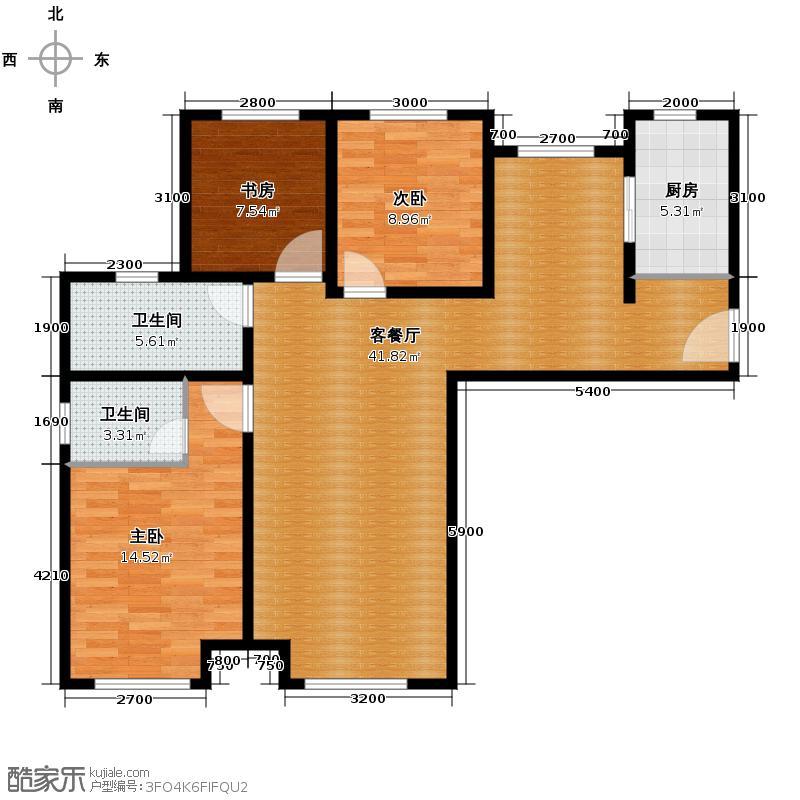 永定河孔雀城英国宫118.00㎡A-8临时户型3室2厅2卫